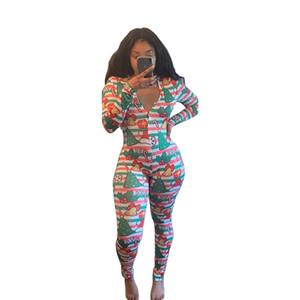 Frauen Designer Jumpsuits Frühling und Herbst der reizvolle tiefer V-Ausschnitt mit langen Ärmeln Printed Knopf Strampler Enger Overall Pants 088