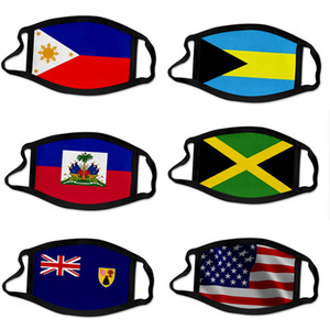3D US National Flag Print Masken Waschbar Cotton Gesichtsmaske atmungsaktiv Resuable Frauen Mann Fashion Bahams Haiti Mask