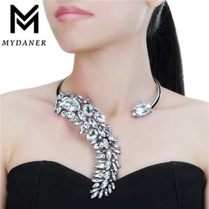 MYDANER 2020 moda de luxo cristal gargantilhas Pendant Maxi Colar apelativo para Charme casamento Mulheres Retro Sexy Collier Mulheres