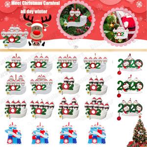 2020 sobrevivente ornamento personalizado do Natal Família 2 3 4 5 6 7 Árvore de Natal Decoração Masked PVC mão-lavados pendurado pingente