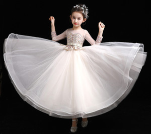 Beauty Beige Sleeves Jewel Beads Girl's Pageant Dresses Flower Girls' Dresses Girl's Dresses Girls' Formal Dress Custom SZ 2-12 D909103