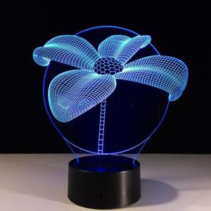Sıcak satış 3D Lotus Çiçeği Optik Illusion lambası Gece Işığı 7 RGB Işıklar DC 5V USB 5 Pil Ücretsiz Kargo Şarj