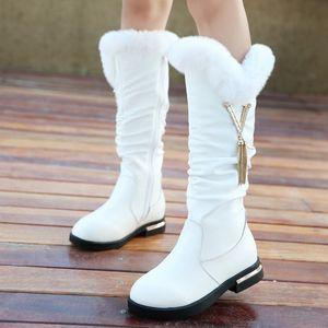 Los niños del cuero genuino de la nieve botas de piel de conejo princesa muchachas de la manera cargadores calientes Zapatos felpa Tamaño Rhinstone Niños Botas para la niña 26-35