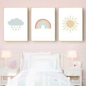 Room Picture Wall Art Bebê Sun Pintura Poster Nuvem Poster Print Neutral Arte decorativa Nordic Sunrise Nursery arco-íris Canvas bdesports Nl