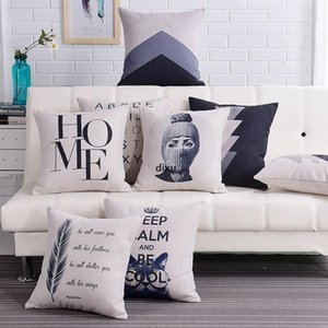 JH Nordic Thickened Pillow Case Cotton And Linen Letter Print Pillow Cover Geometric Printing Pillow Cushion Cover For Sofa