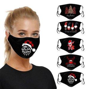 Доставка DHL Елочные печати Маски для защиты лица Обложка Fashion Black Party Mask моющийся Открытый Dust рот Xmas снеговика маска HHD1547
