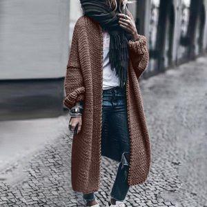 Women Long Cardigan Solid Loose Knit Cardigan Sweater Women Casual Oversized Jacket Coat Autumn winter 2020