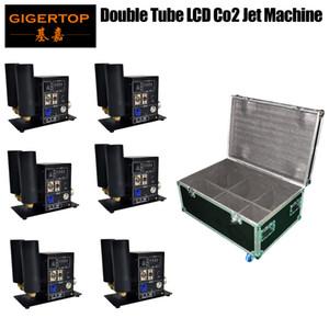 6In1 Pack Flightcase Double Jet Pipe Étape Jet Co2 Machine à jet de gaz blanc fort Effet DMX Control LCD Écran 110V-220V
