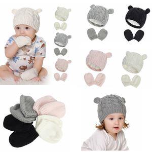 Bebê Luvas Hat Beanie Set-nascidos Mittens de Inverno para crianças da criança do bebê Children malha de lã quente Forrado térmica para Boy Girl 0-18M FF4458