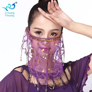 Gazlı bez Hint Püskül Göbek Maskesi Sequins Yüz Dans Veil Havlu