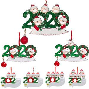 Nome Pendenti regalo di natale 2020 Quarantine PVC 3D di Natale Survivor Famiglia Di 20 Decorazione albero di Natale personalizzati fai da te