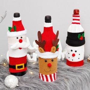 Nueva cubierta del vino con ropa de botellas arco Elk lino con Botella Pelusa creativo Vino cubierta decoración Navidad de la manera 100pcs T1I2375