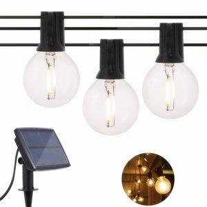 Navidad 5M / 7M Hada Luz solar de cadena Garland Edison del bulbo G40 LED de cristal a prueba de agua Luz de Iluminación de interior al aire libre