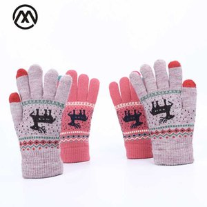 2020 new deer print woman knit gloves touch screen gloves all refers to winter warm plus velvet men and women