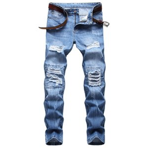 Strappato Hole Jeans uomini eterosessuali Blue Jeans Mens over size Punk Pants High Street Pantaloni Hip Hop Motorcycle Jeans