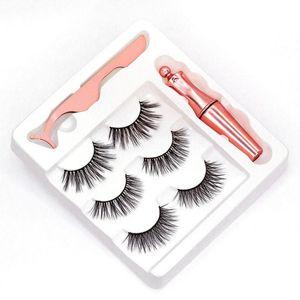 NEW 5 styles 3 Pairs Magnetic Eyelashes False Lashes +Liquid Eyeliner +Tweezer eye makeup set 3D magnet False eyelashes No Glue Needed DH