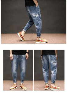 The Blue Jeans Straight Male Easy Leisure Haroun Pants Fertilizer Plus-Size Stretch Elastic Waist LinYe1338