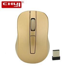 الفئران تشي 2.4 جرام لاسلكي ميني ماوس الكمبيوتر البصرية 1000/1200 / 1600DPI 3D الذهب USB Mause للهدايا دفتر الكمبيوتر