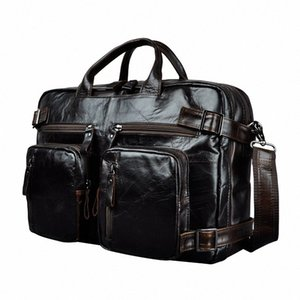 Genuine Leather Man Design Multifunction Purpose Maletas Maletin Business Briefcase 15 Laptop Bag Tote Portfolio Bag K1013 Metal Brief ahv2#