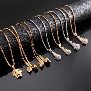 Нержавеющая сталь Металл Mic Внеземной наушников кулон ожерелье для мужчин Личность Модные ювелирные изделия Хип-хоп Сеть