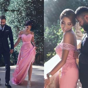 Sexy Off Shoulder Mermaid Prom Dresses Romantic Pink Lace Applique Party Evening Gowns With Satin Belt vestido de fiesta de gala