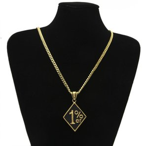 Fashion Creative Hip Hop Latest Gold 1%ER Pendant Nacklace 316L Stainless Steel Polished Personality Retro Cool Man Jewelry Gift