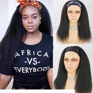 Kinky Straight Headband Glueless Wig Human Hair Wigs Remy Brazilian Full Machine Made Wig For Women