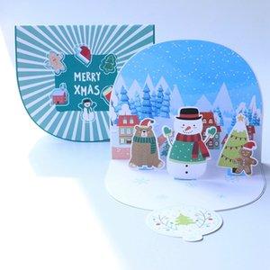 5шт Рождество Поздравительные открытки 3D Up Лазерная резка Рождеством Зимний праздник Invitation Подарочная карта
