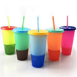 New 20PCS Color Changing Cup PP Temperature Magic Tumbler Colorful Cold Water Coffee Cup Mug Water Bottle 700ML With Straw Gift