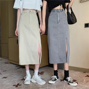 2020 New Korean-Style High-Waist Slim Mid-Length Skirt Split Denim Bag Hip A- line Skirt for Women