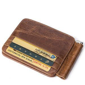 MVA Men's Card Bag Genuine Leather Card Holders Vintage ID Card Holder Money Coin Pack Short Wallet