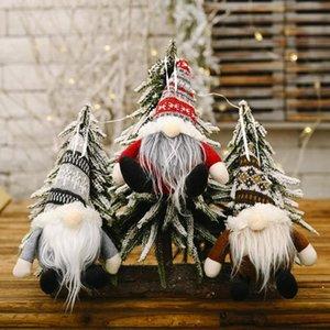 Gnome navidad Adornos Gorro de lana esférico Forester sin rostro de la muñeca colgante Toppers del árbol de navidad