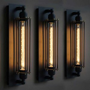 Loft American Vintage Industrial Wrought Iron Wall Sconce LED Black Retro Bar Cafe Aisle Wall Lights
