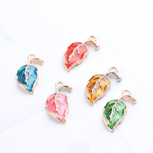 MRHUANG 10PCS 10*20mm leaf Enamel Pendant Charms Gold Tone Oil Drop DIY Bracelet Floating Charms