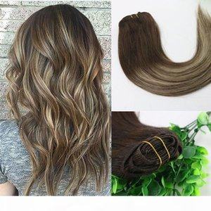 8A 7pcs 120gram Clip In Human Hair Extensions Ombre Brown Human Hair Brunette Shade With Blonde Balayage Highlights