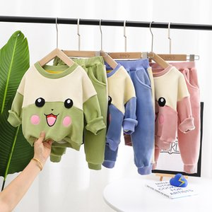 2020 Autumn Cute Children's Winter Suit Thicken Toddler Girl Clothes Casual Sweater+Trousers 2Pcs Set Boy Tracksuit 1-5 Year