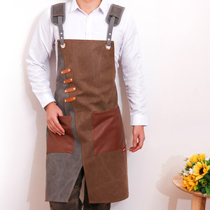Canvas Apron Barista Bartender Chef Hairdressing Apron Catering Uniform Work Wear Anti-Dirty Overalls Unisex Size Adjustable