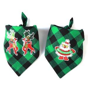 Chien Polyester Plaid Bandana Pet Lavable Décoration Écharpe double couche Mouchoir bavoirs pour Noël 2 f2