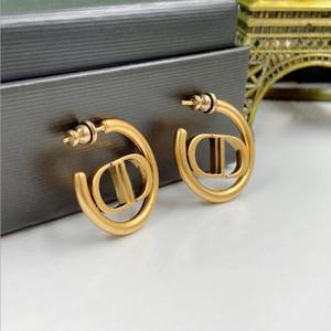 Internet Berühmtheit Ohrringe der gleichen Art D zu Hause Briefe tun Altgold Pigment Kreis Ohrringe Damenmode Ohrringe