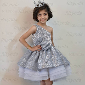 Ball Gown Girls Pageant Dresse Pearls Lace Applique Princess Tulle Puffy Kids Flower Girls Birthday Gowns
