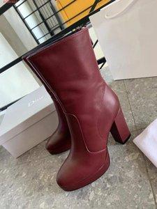 Les nouvelles bottines à la mode mi-tube, le 2020 style jeunesse occidentale sont 100% cuir noir 10cm Bourgogne bottes à hauts talons avec fermeture à glissière talon