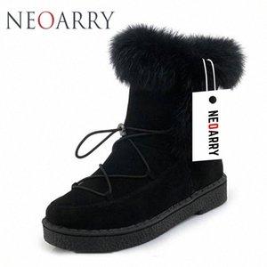 Neoarry invierno botas para mujer de la nieve botas de encaje de Calentamiento piel de la manera del tobillo de los botines de tacón bajo Rusia Calzado de las señoras del tamaño grande LT70 b2T1 #