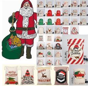 Neue Weihnachtsgeschenksack mit Rentier Santa Claus Sack Baumwolle Umweltschutz Bündel Mund Canvas Tasche Elch Weihnachtstasche