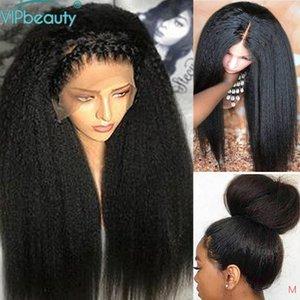 Кружевные парики Vipbeauty kinky Straight 13x4 Передние человеческие волосы для чернокожих женщин 150% Плотность Remy Italian Yaki