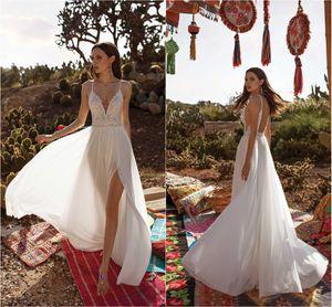 Asaf Dadush 2021 Split Wedding Dresses V Neck Beaded Boho Bohemian Lace Wedding Dress Robes De Mariée