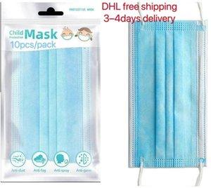 Дети маски для лица 10шт / уп 3-15years Модельер лицо маски Дети 3 слоя Одноразовая маска Protective Kid РТУ DHL 3--5days доставка