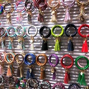 Multiple Styles Sun Flower Tie-Dyed Leather Wrap Tassels Bracelets Keychain Wristlet Bracelet Tassel Keychain Round Bangle Key Ring BWE1829