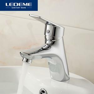 LEDEME Banho Faucet de água preto sólido Bacia Red torneira em latão cromado Superfície Single Handle Água Sink Torneira L1040