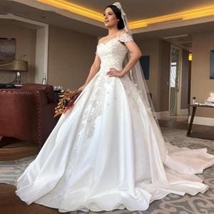 Modest Saten Prenses Balo Gelinlik Omuz 2020 Dantel Aplike Gelinlik Dubai Arapça vestidos de Novia Kapalı