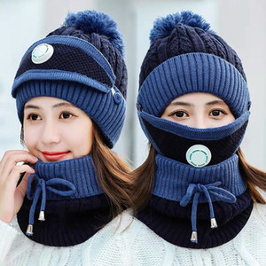Winter Warm Masks Hat Scarf Set Thick Plus Cashmere Knit Caps Wool Ball Cover Ear Collar Hats with Breathing Valve Masks GGA3729-1